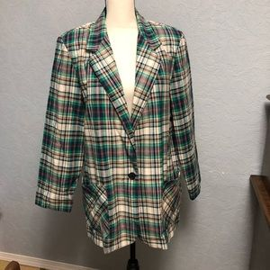 Vtg Jaclyn Sport Plaid One Button Blazer E14